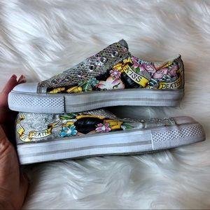 Ed Hardy Geisha girl sneakers size 5